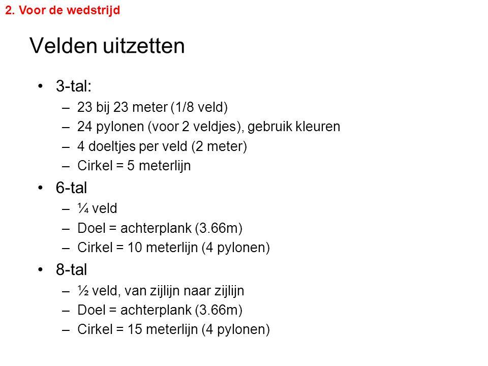 Velden uitzetten 3-tal: 6-tal 8-tal 23 bij 23 meter (1/8 veld)