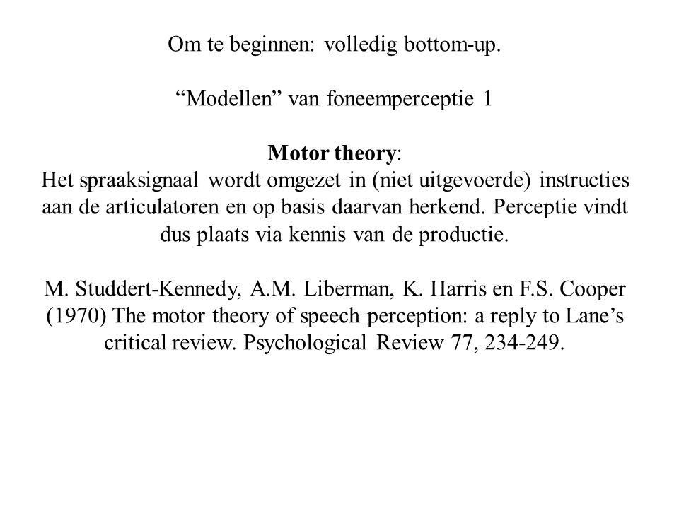 Om te beginnen: volledig bottom-up. Modellen van foneemperceptie 1