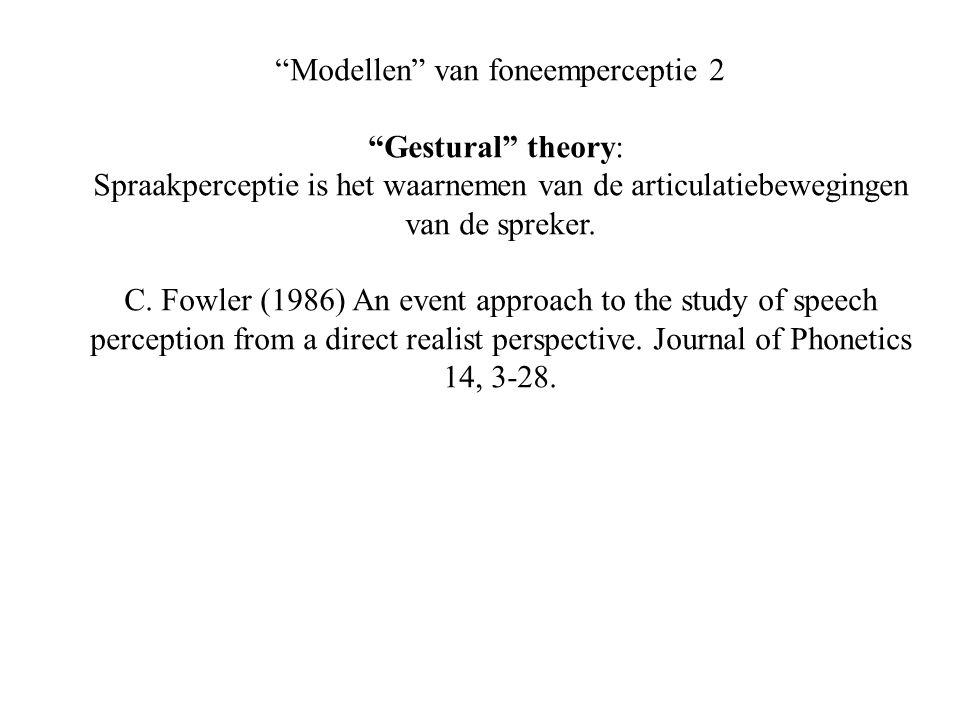 Modellen van foneemperceptie 2 Gestural theory: