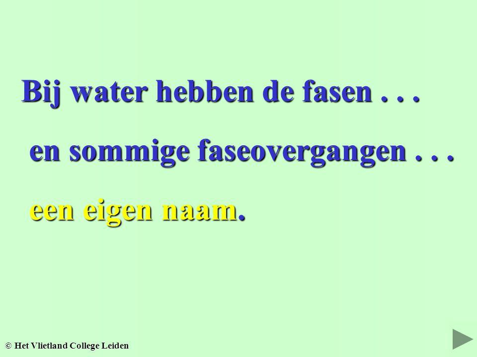Bij water hebben de fasen . . .