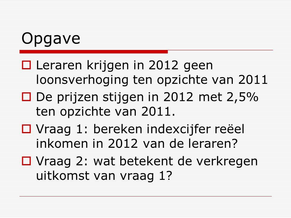 Opgave Leraren krijgen in 2012 geen loonsverhoging ten opzichte van 2011. De prijzen stijgen in 2012 met 2,5% ten opzichte van 2011.