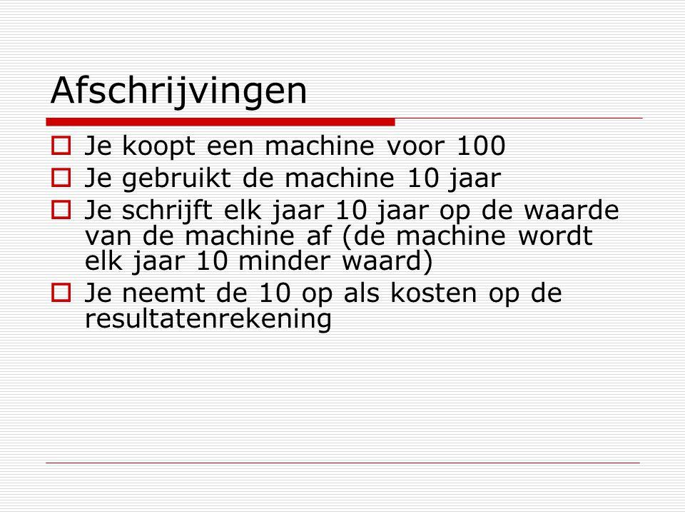 Afschrijvingen Je koopt een machine voor 100
