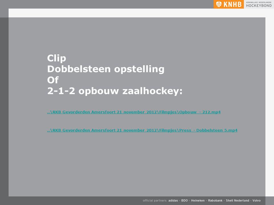 Dobbelsteen opstelling Of 2-1-2 opbouw zaalhockey: