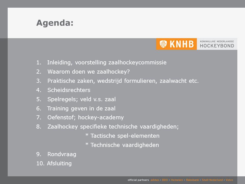 Agenda: Inleiding, voorstelling zaalhockeycommissie