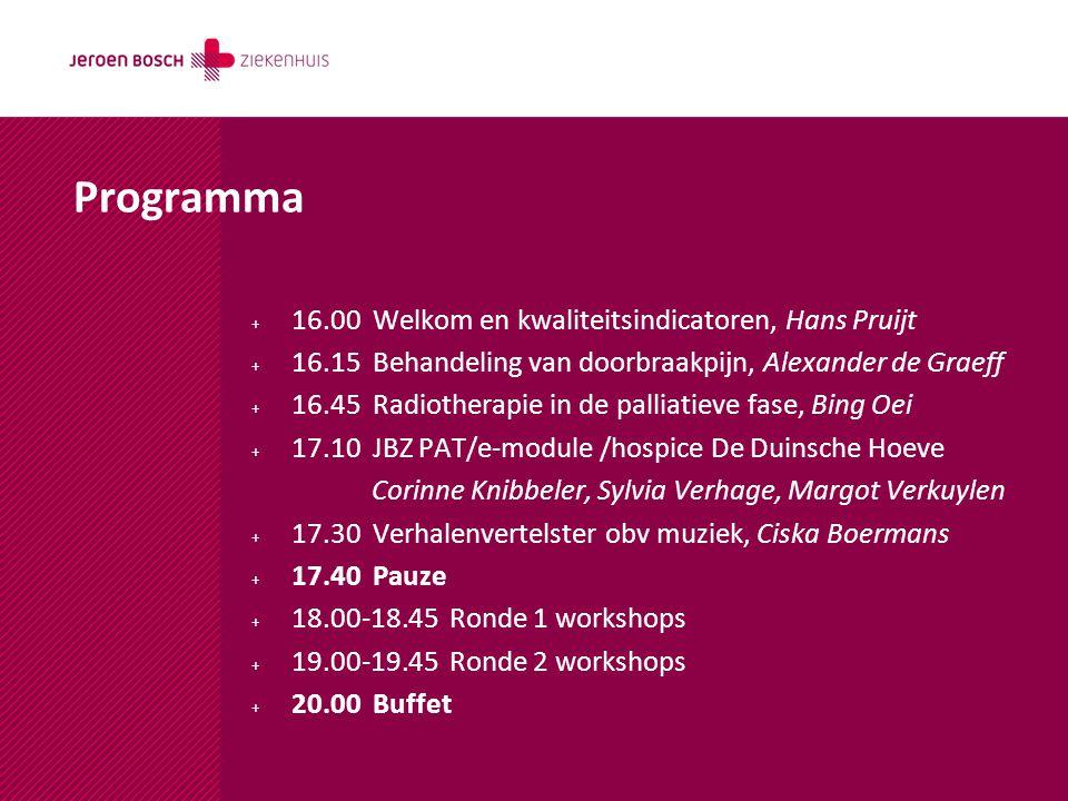 Programma 16.00 Welkom en kwaliteitsindicatoren, Hans Pruijt