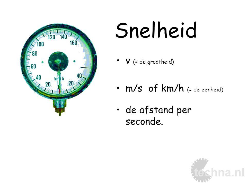Snelheid v (= de grootheid) m/s of km/h (= de eenheid)