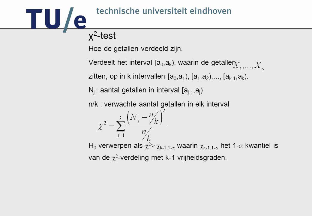 χ2-test Hoe de getallen verdeeld zijn.