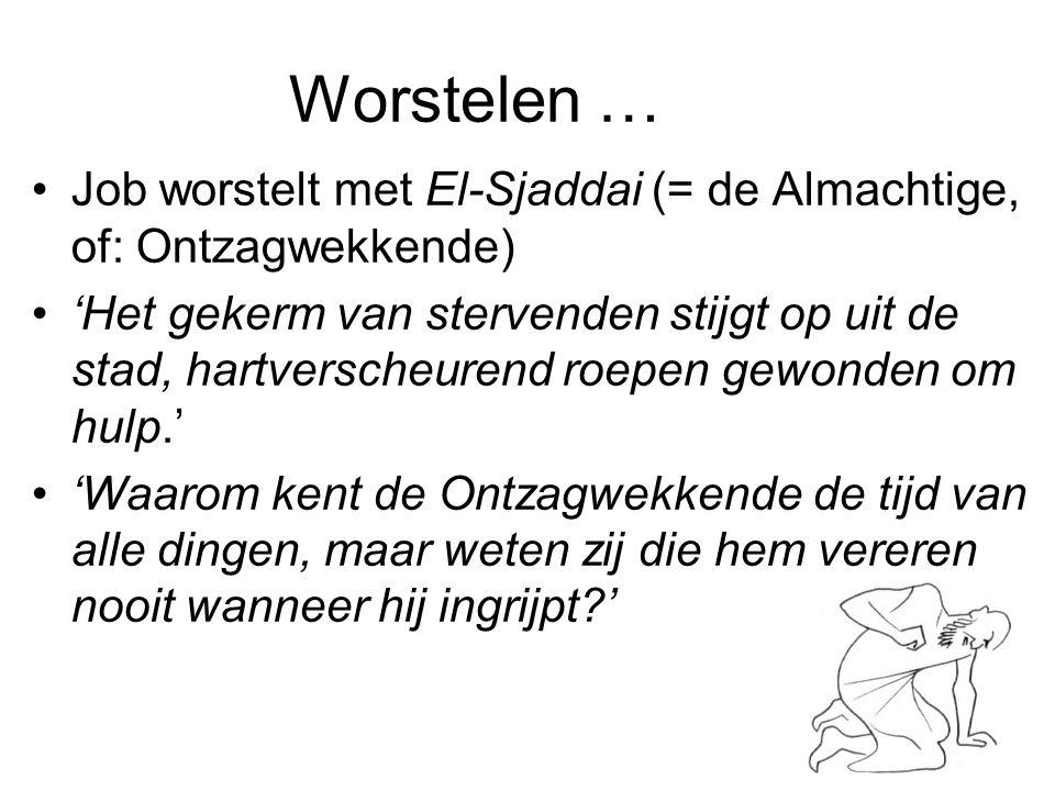 Worstelen … Job worstelt met El-Sjaddai (= de Almachtige, of: Ontzagwekkende)