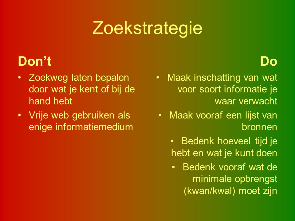 Zoekstrategie Don't Do