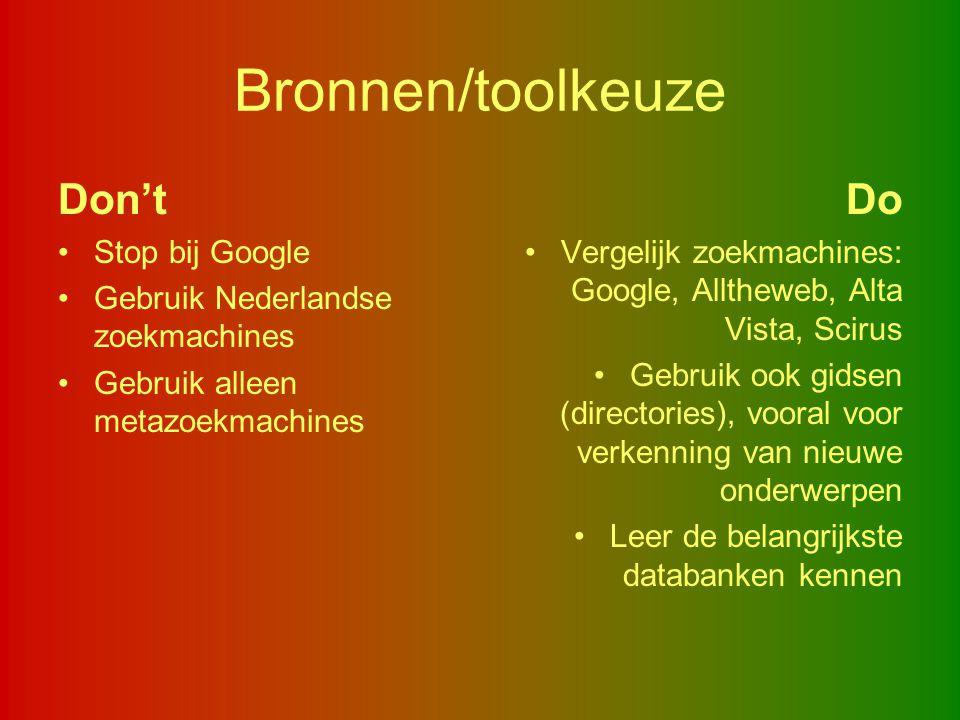 Bronnen/toolkeuze Don't Do Stop bij Google