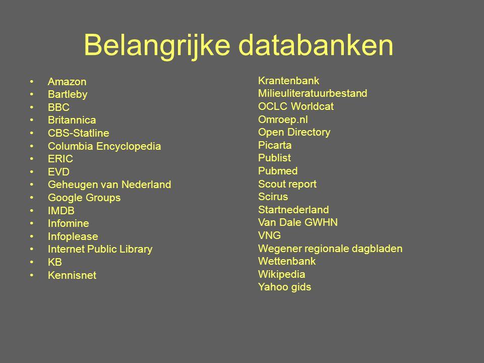 Belangrijke databanken