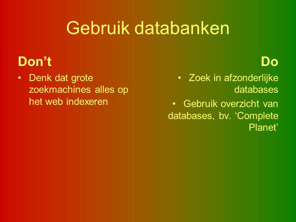 Gebruik databanken Don't Do