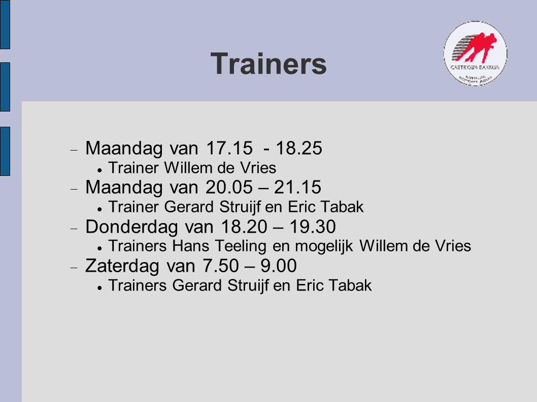 Trainers Maandag van 17.15 - 18.25 Maandag van 20.05 – 21.15