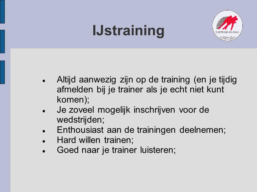 IJstraining Altijd aanwezig zijn op de training (en je tijdig afmelden bij je trainer als je echt niet kunt komen);