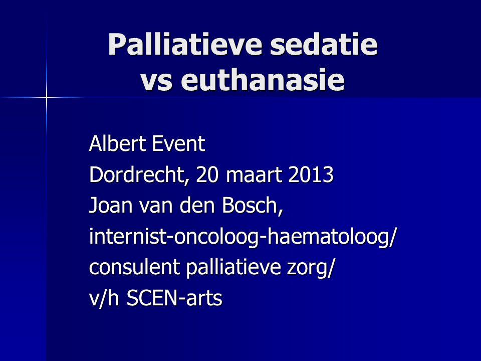 Palliatieve sedatie vs euthanasie