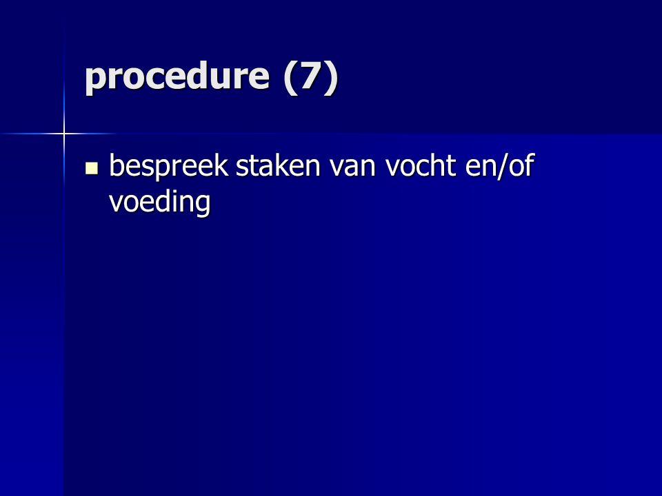 procedure (7) bespreek staken van vocht en/of voeding