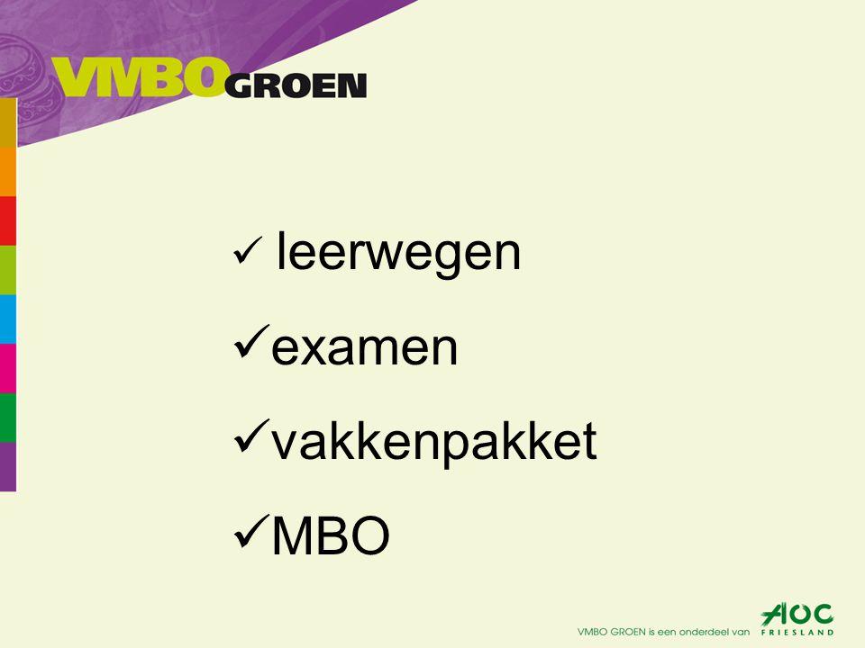 leerwegen examen vakkenpakket MBO