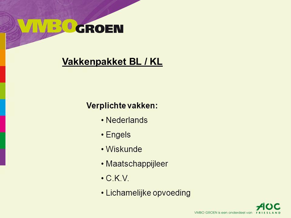 Vakkenpakket BL / KL Verplichte vakken: Nederlands Engels Wiskunde