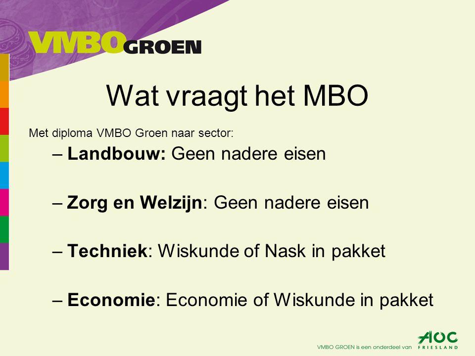 Wat vraagt het MBO Landbouw: Geen nadere eisen