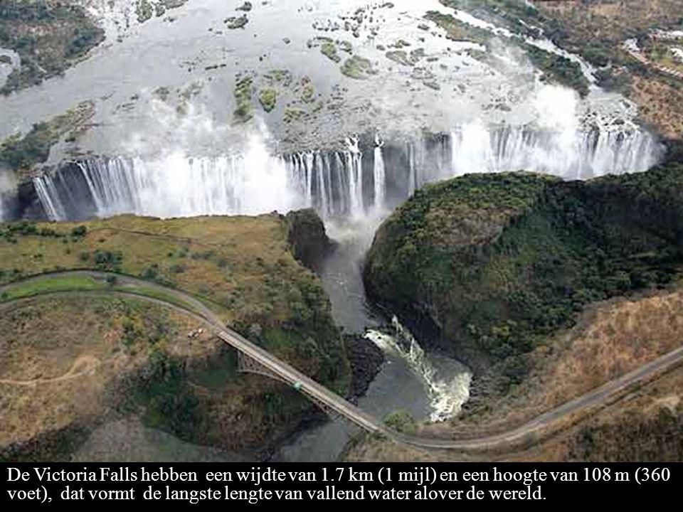 De Victoria Falls hebben een wijdte van 1