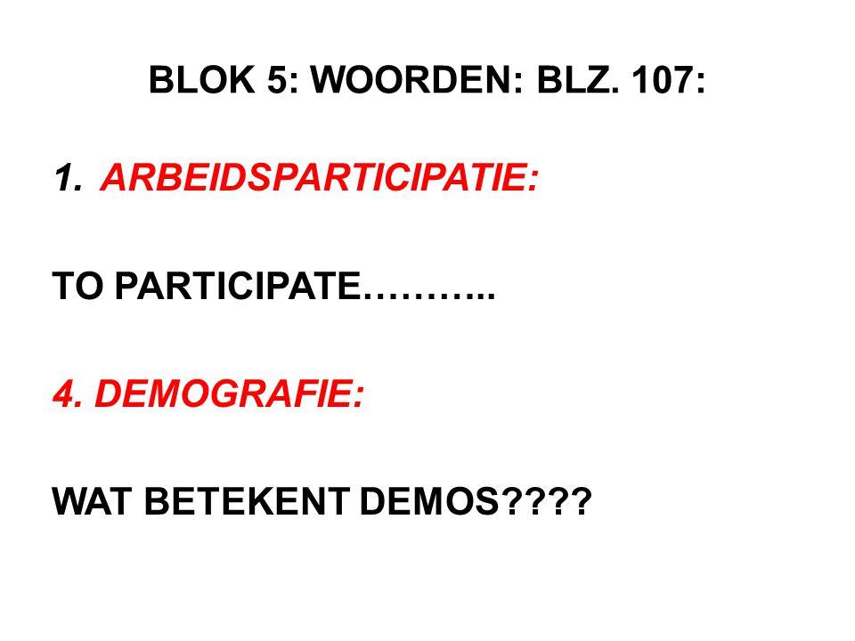 BLOK 5: WOORDEN: BLZ. 107: ARBEIDSPARTICIPATIE: TO PARTICIPATE………..