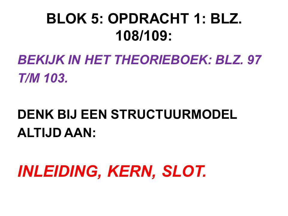 INLEIDING, KERN, SLOT. BLOK 5: OPDRACHT 1: BLZ. 108/109: