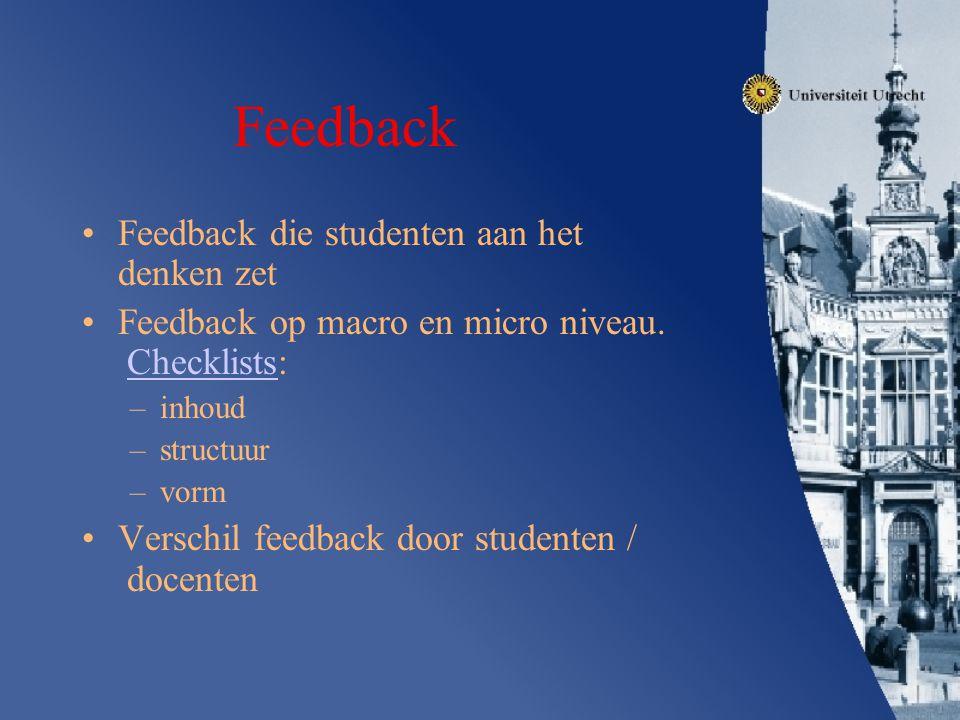 Feedback Feedback die studenten aan het denken zet