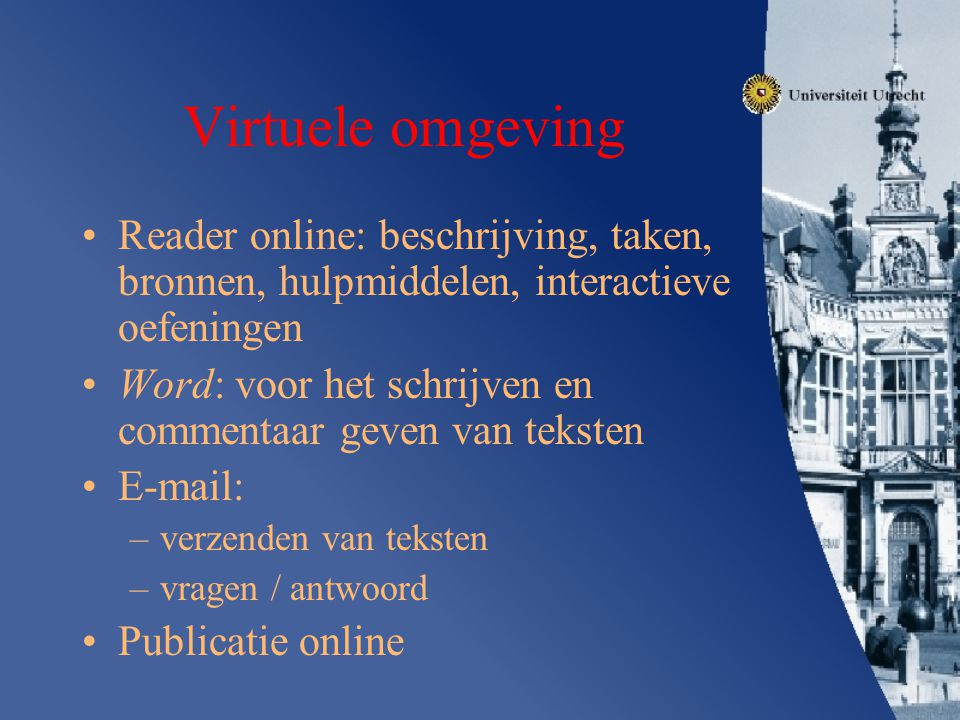 Virtuele omgeving Reader online: beschrijving, taken, bronnen, hulpmiddelen, interactieve oefeningen.