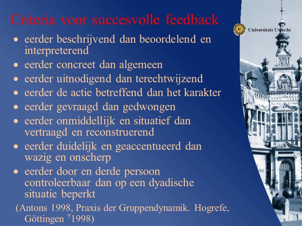 Criteria voor succesvolle feedback
