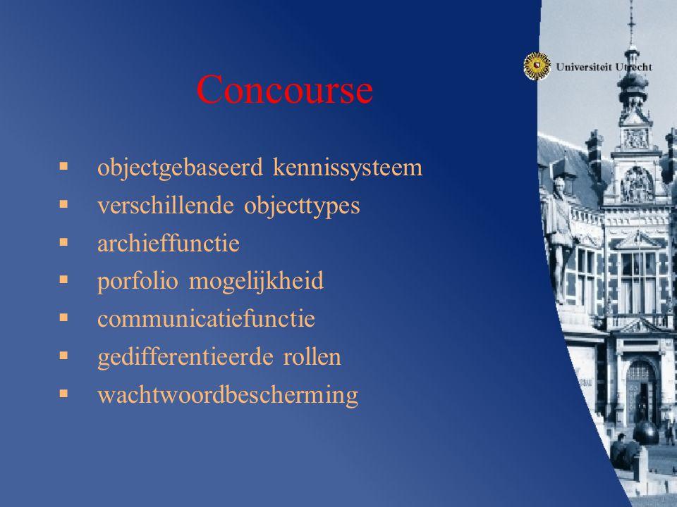 Concourse objectgebaseerd kennissysteem verschillende objecttypes