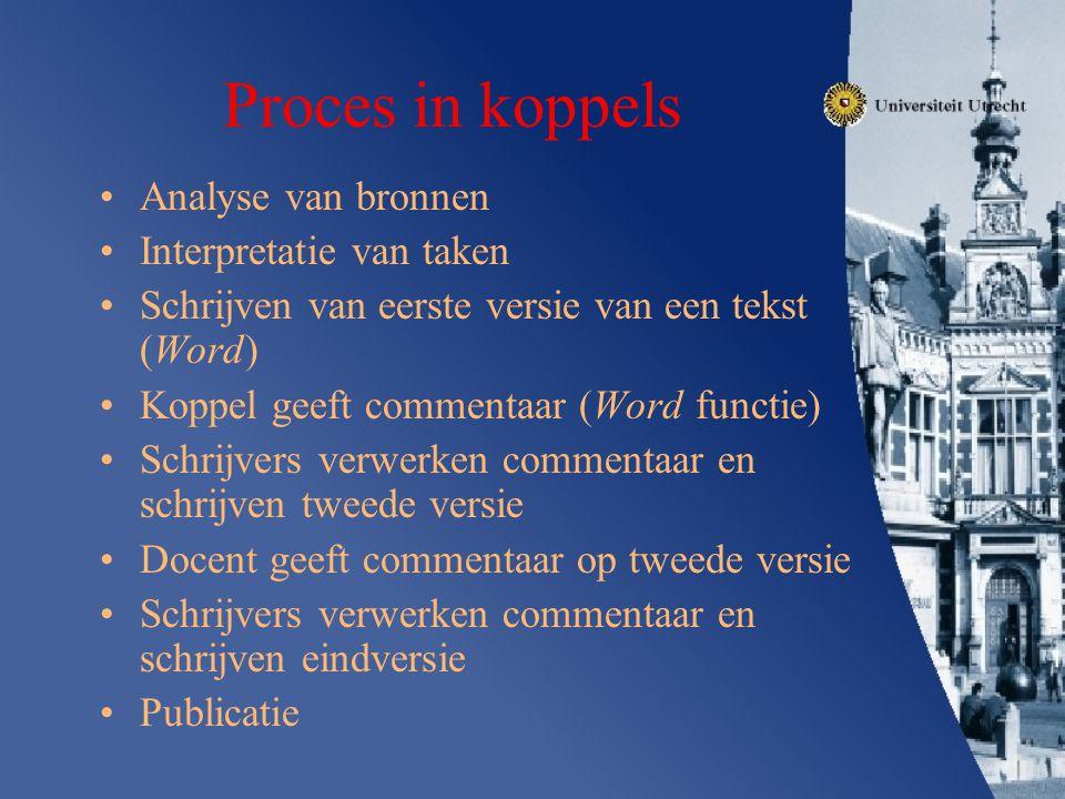 Proces in koppels Analyse van bronnen Interpretatie van taken