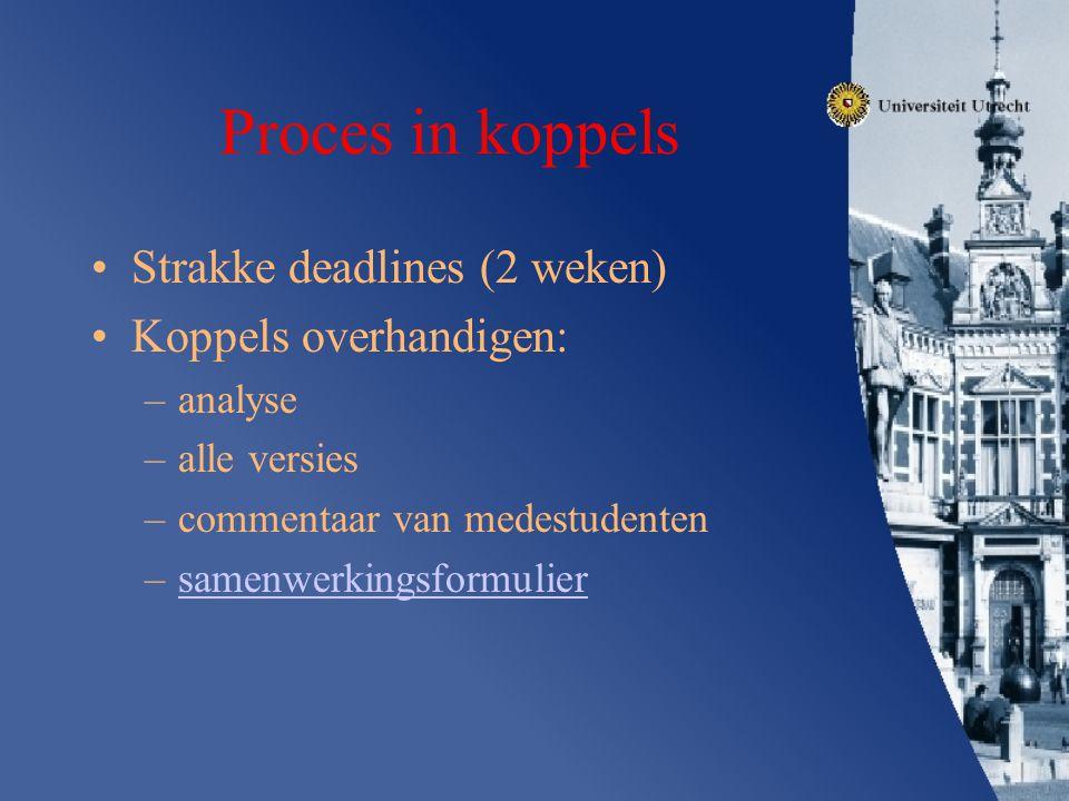 Proces in koppels Strakke deadlines (2 weken) Koppels overhandigen: