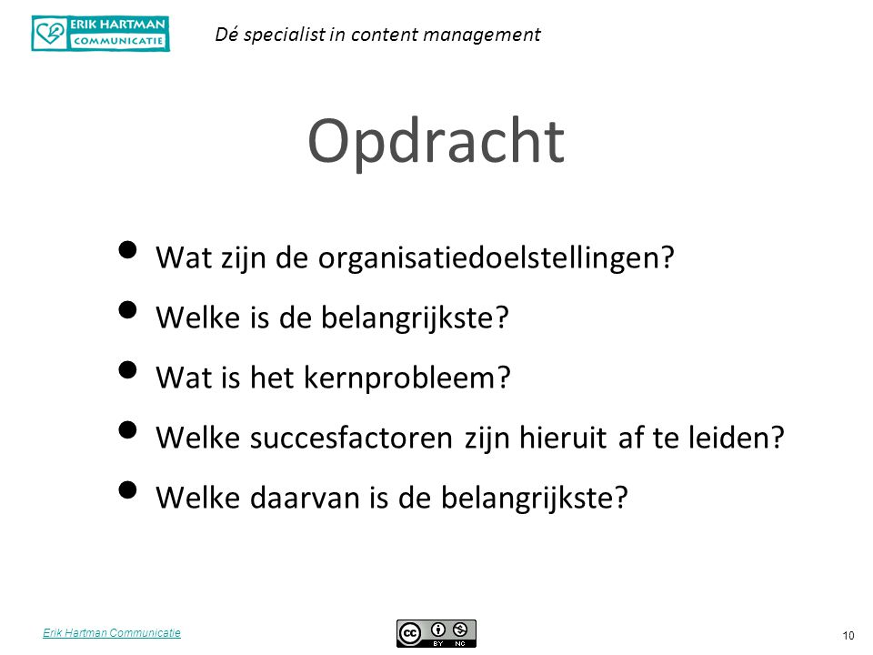 Opdracht Wat zijn de organisatiedoelstellingen