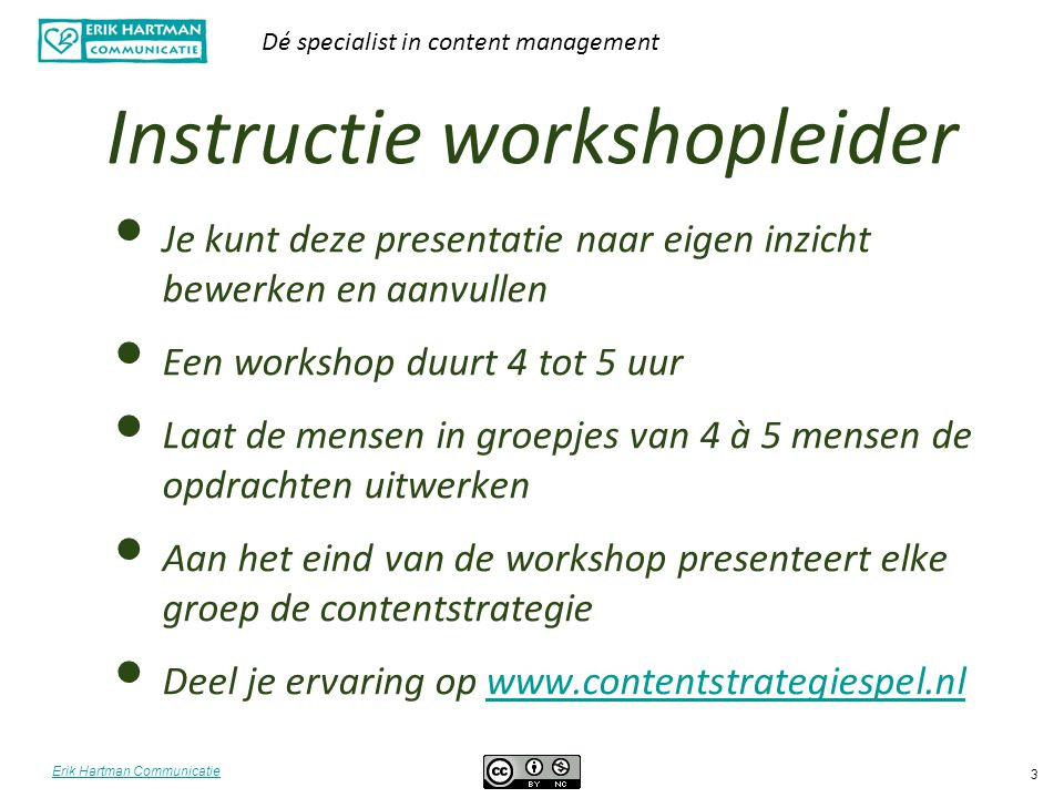 Instructie workshopleider