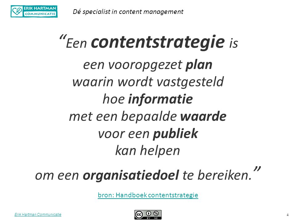 Een contentstrategie is