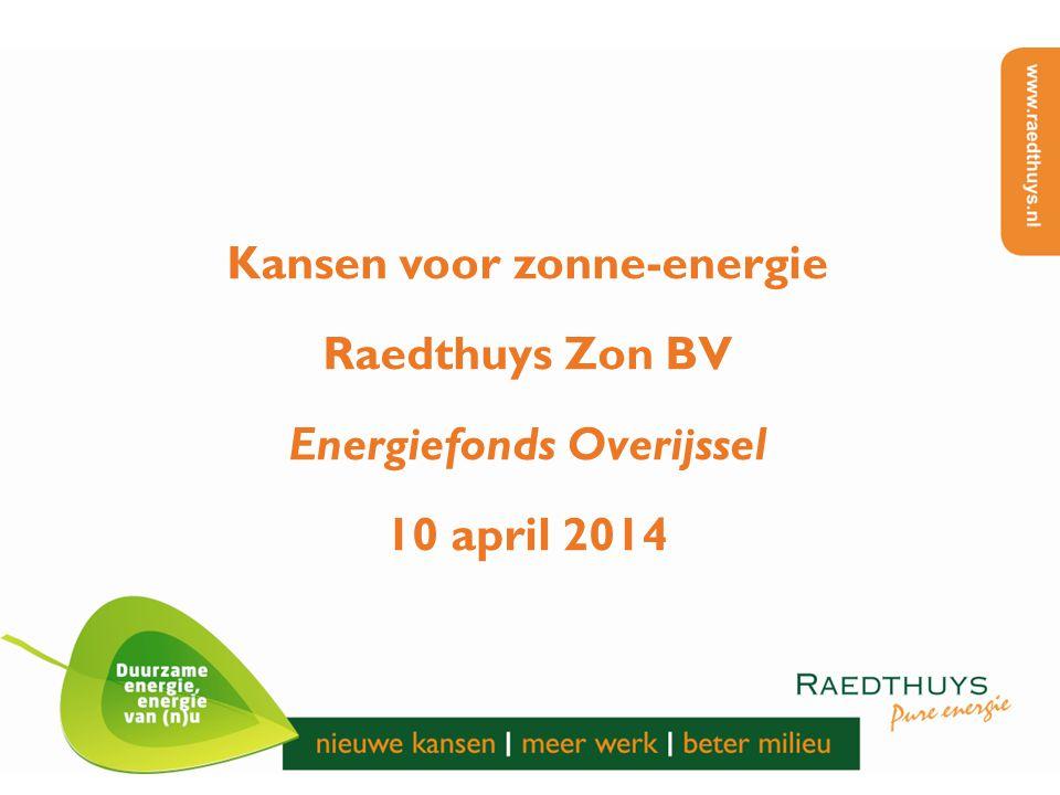 Kansen voor zonne-energie Raedthuys Zon BV Energiefonds Overijssel