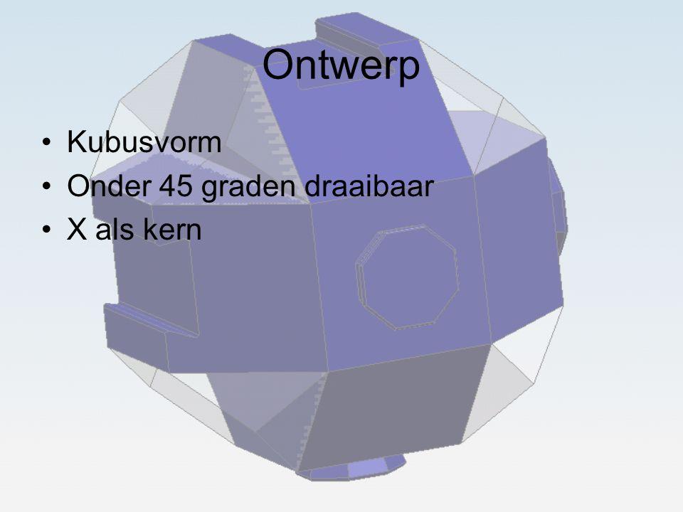 Ontwerp Kubusvorm Onder 45 graden draaibaar X als kern