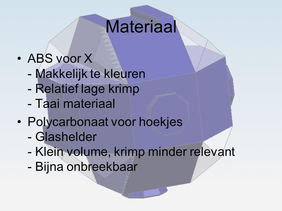 Materiaal ABS voor X - Makkelijk te kleuren - Relatief lage krimp - Taai materiaal.