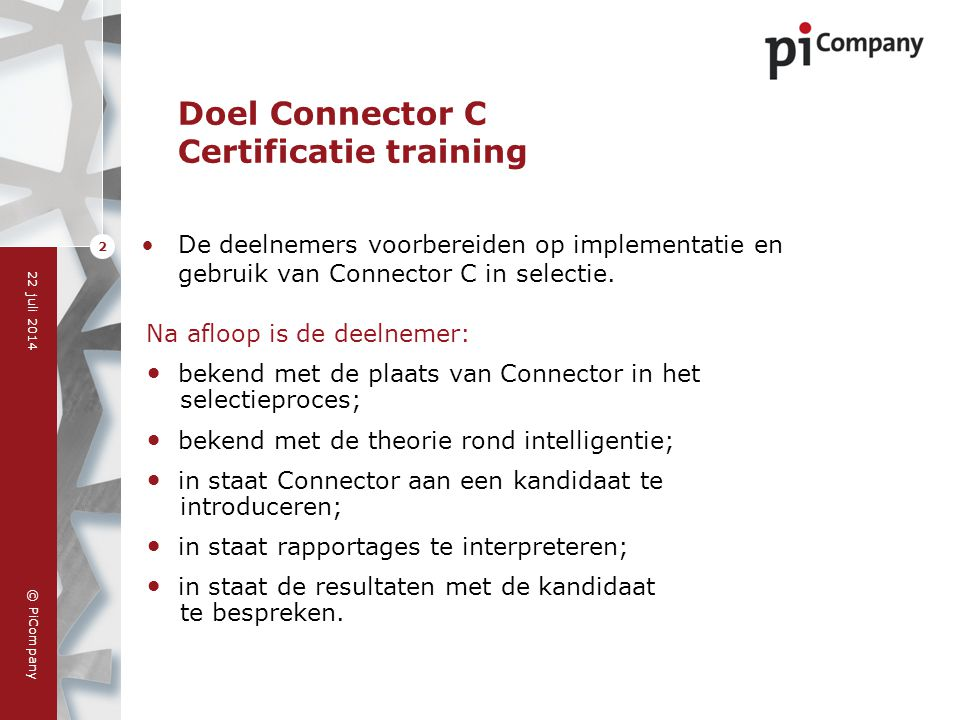 Doel Connector C Certificatie training