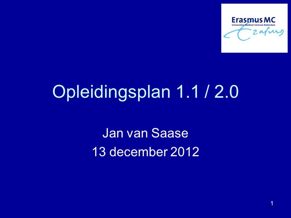 Opleidingsplan 1.1 / 2.0 Jan van Saase 13 december 2012