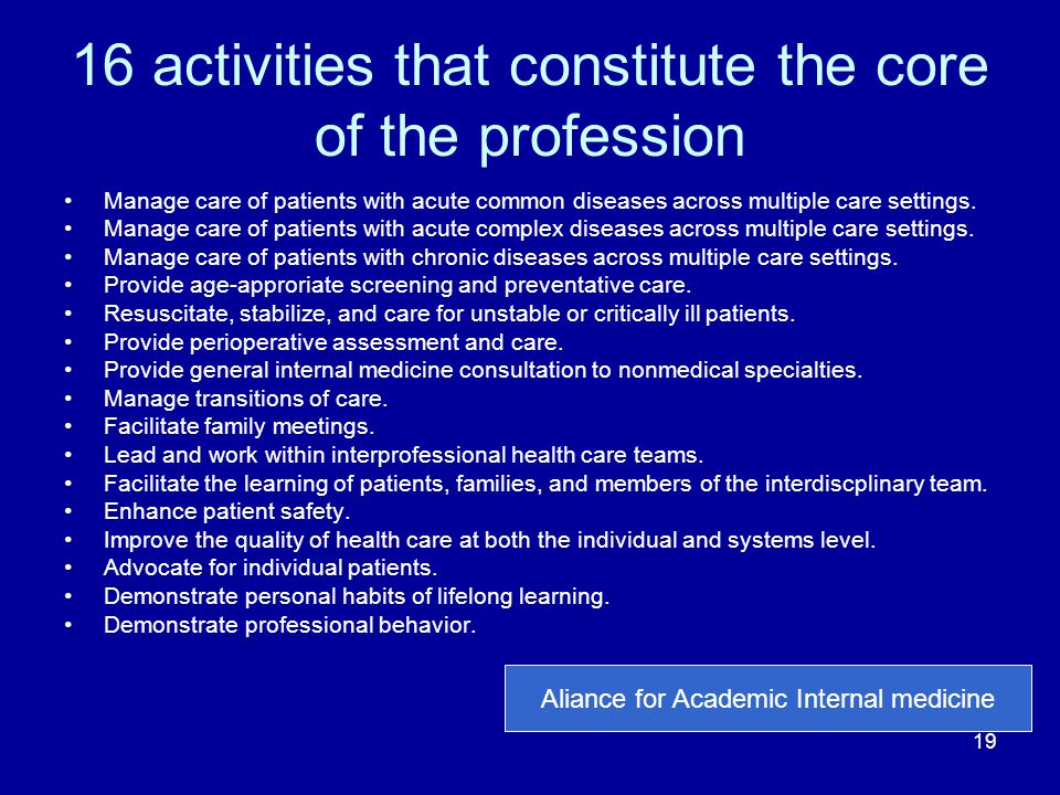 16 activities that constitute the core of the profession