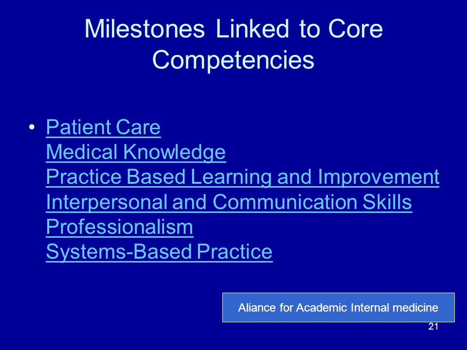 Milestones Linked to Core Competencies