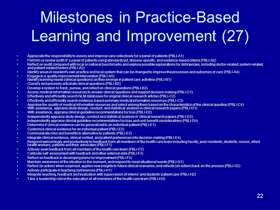 Milestones in Practice-Based Learning and Improvement (27)