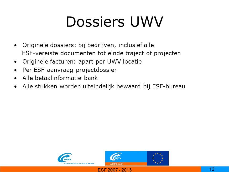 Dossiers UWV Originele dossiers: bij bedrijven, inclusief alle