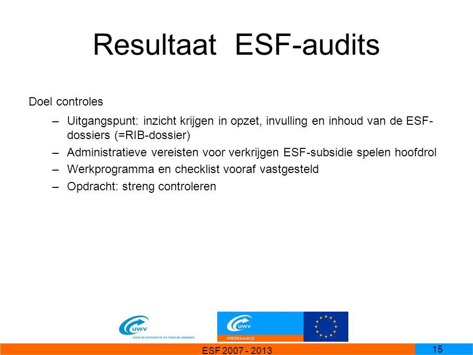 Resultaat ESF-audits Doel controles