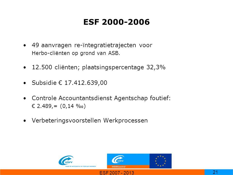 ESF 2000-2006 49 aanvragen re-ïntegratietrajecten voor