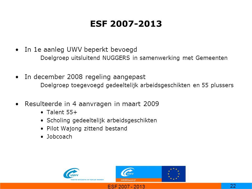 ESF 2007-2013 In 1e aanleg UWV beperkt bevoegd