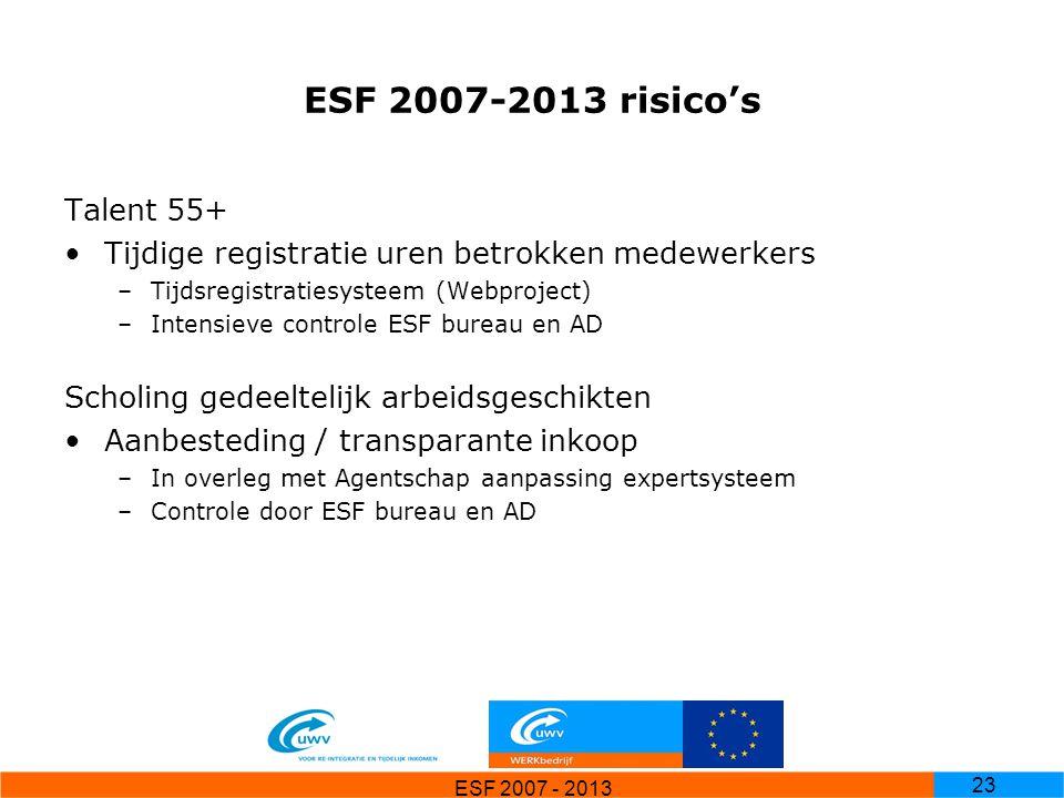 ESF 2007-2013 risico's Talent 55+ Tijdige registratie uren betrokken medewerkers. Tijdsregistratiesysteem (Webproject)