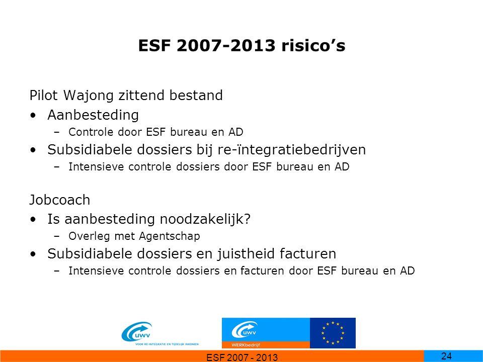 ESF 2007-2013 risico's Pilot Wajong zittend bestand Aanbesteding