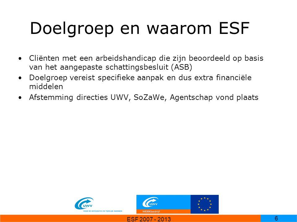 Doelgroep en waarom ESF